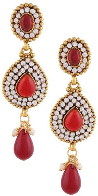 Gold & More Red & White Stones Alloy Drop Earring