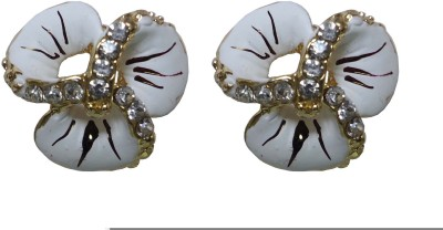 Modish Look White Small Tops Brass Stud Earring