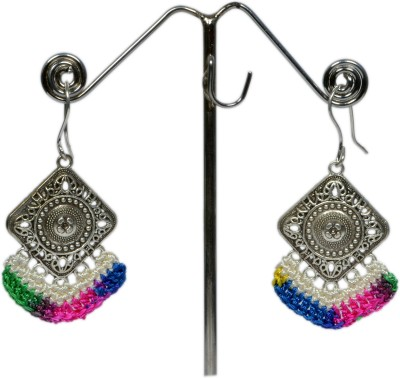 Angelfish Designer Neon colourful thread combination with German Silver Finding Metal Dangle Earring