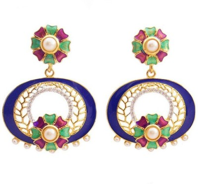 MK Jewellers DESIGNER BLUE FLORAL ROUND EARING WITH AD AND MEENA Enamel Dangle Earring