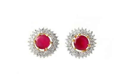 Eloiny Sparkling Red Cubic Zirconia Alloy Stud Earring