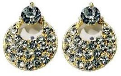 VML VML Full White Stone with Golden Earring Alloy Stud Earring