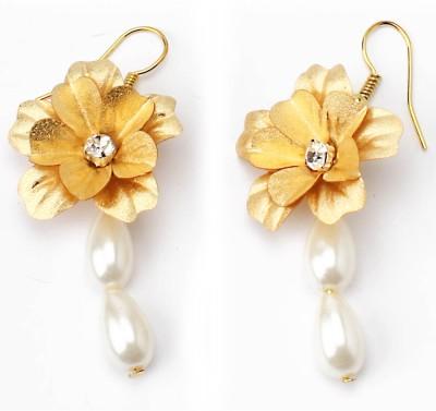 Aarya 24kt Gold Foil Flower Silicone Dangle Earring