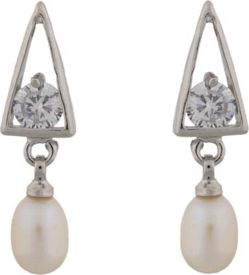 Janki Jewellers Pearl and Stone Fancy Designed Pearl Alloy Drop Earring