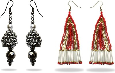Beadworks fashionable beaded combo Alloy, Glass, Resin, Wood, Bone, Brass, Ceramic, Lac Earring Set