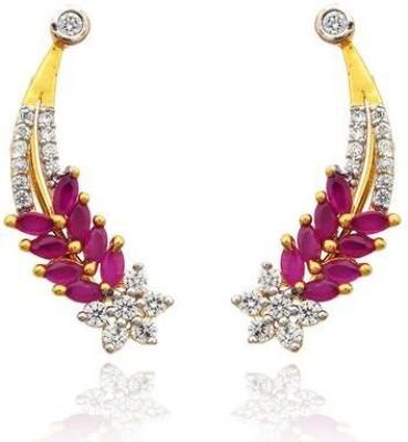 Luxor Floral Pink Designer Brass Cuff Earring