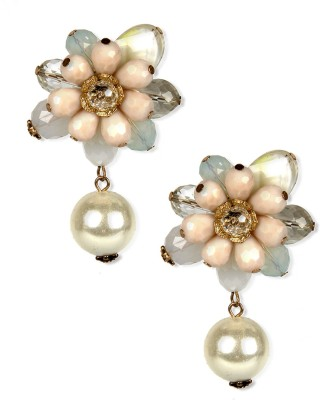 Aimez Whitish Floral - Pearl Metal Drop Earring