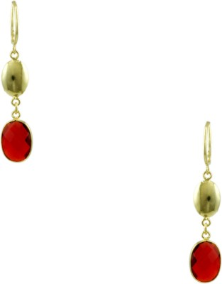 Orniza Designer Earrings in Red Color and High Gold Polish Brass Hoop Earring