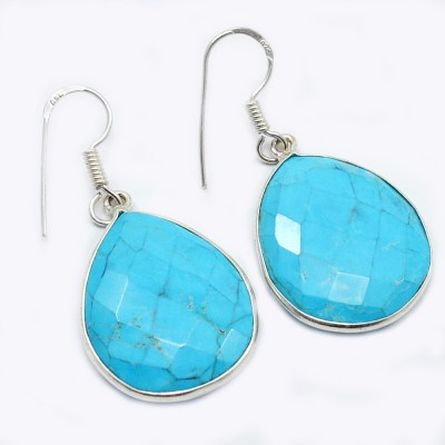 Silvesto India 1475 Turquoise Sterling Silver Dangle Earring, Drop Earring