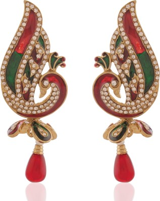 AccessHer Red And Green Peacock Bliss Brass Drop Earring