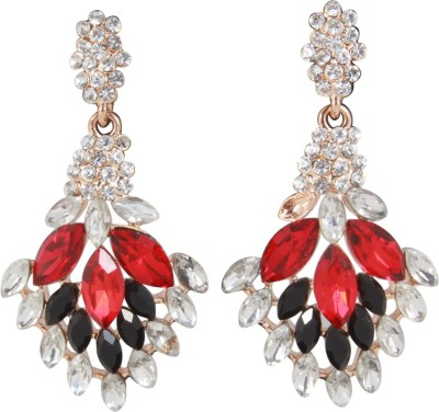 Jazz Jewellery Beautiful Designer with Black, Red and White Colour Stone Alloy Stud Earring