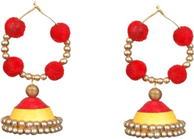 Scion Red Tradition Quilling Paper Jhumki Earring