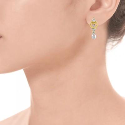 Mani Jewel Floral Yellow Gold 18kt Diamond Drop Earring