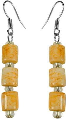 Crystals & Beads Agate Yellow Colour Drum Bead & White Crystal Acrylic, Glass, Crystal Dangle Earring