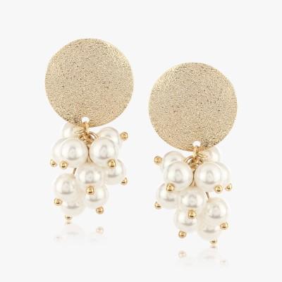 Shamoda Classic Gold Stud With Pearl Bunch Metal Dangle Earring