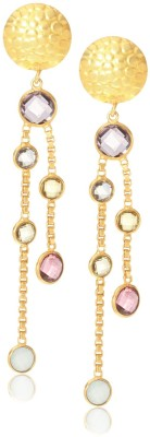 Made By M Crystal Brass, Nickel Dangle Earring