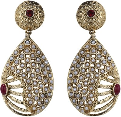 Sale Funda Ethnic er0017 Zircon, Pearl, Ruby Alloy Chandbali Earring