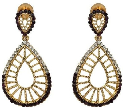ACW Gold Plated White and Black Stones Hanging Earrings Metal Chandelier Earring