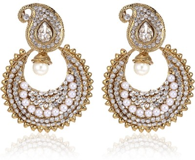 Dazzle Collections Sparkle Pearly Alloy Chandbali Earring