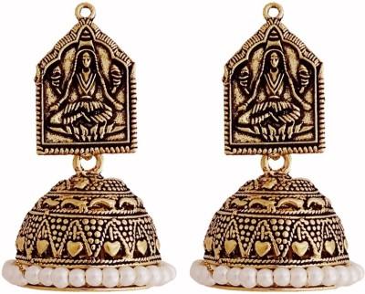 Gems N Pearls Temple Jhumka German Silver Jhumki Earring
