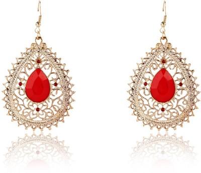 Aaishwarya Tear Drop Red Stylish Crystal Alloy Dangle Earring