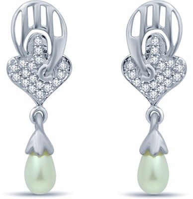 Navvya Cubic Zirconia Sterling Silver Drop Earring
