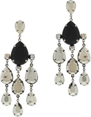 Oomph Silver & Black Crystal Fashion Jewellery for Women, Girls & Ladies Metal Chandelier Earring
