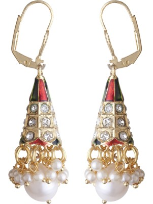 DD Pearls Color Sparkle Pearl, Cubic Zirconia Alloy Clip-on Earring