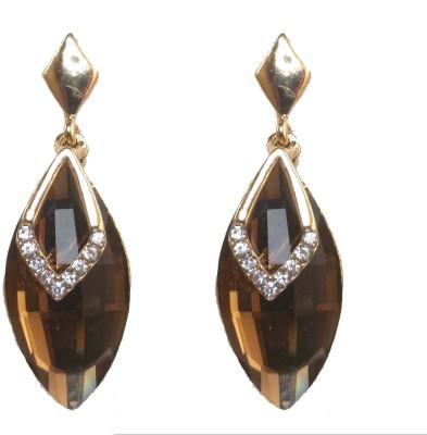 Modish Look Brown Shining Brass Drop Earring