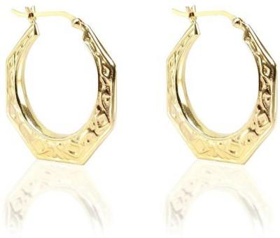 LeCalla Filigree Inspired Geometric Gold Sterling Silver Hoop Earring