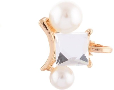 FashionFundamentals Miror And Pearl Alloy Cuff Earring