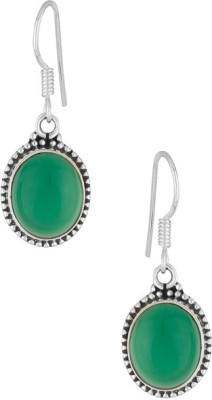 Gemshop STERLING 92.5 STUDDED WITH GREEN ONYX STONE Silver Hoop Earring