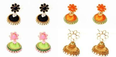 Craftworks black , orange, green and gold color Silk Dori Earring Set