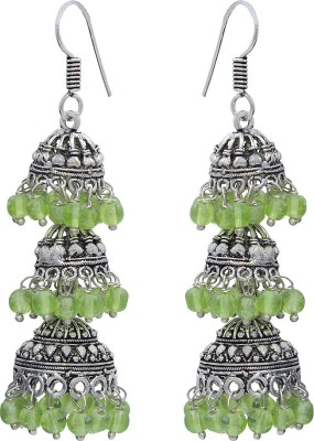 Bhavikaa Oxidised Multicolor Beads German Silver Jhumki Earring