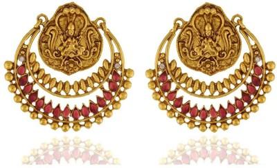 Pearls Cart Antique Golden Royal Meena Work Alloy Chandbali Earring
