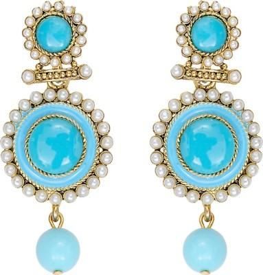 Mitthi Jewels Party Wear Sky Blue Traditional Type Designer Earrings Alloy Drop Earring