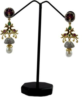 Bharat Sales Multi color copper cuff Cubic Zirconia Copper Drop Earring