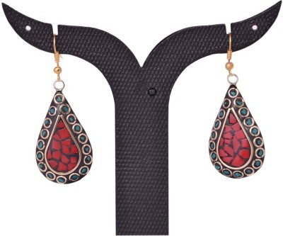 Tradition India TI186 Handmade Designer Stone Studded Traditional Lac Worked Brass Drop Earring