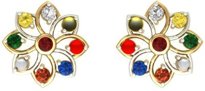 Aurobliss Kumud Navratna Yellow Gold 18kt Diamond Stud Earring