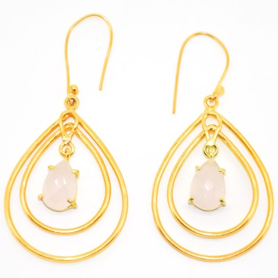 Casa De Plata Oval Rose Chalcedony Brass Earring Chalcedony Brass Dangle Earring