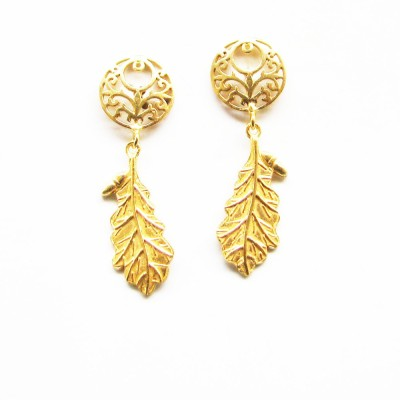 Gharaz semi precious Gold plated Brass Dangle Earring
