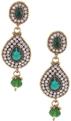 Gold & More Green & White Stones Alloy Drop Earring