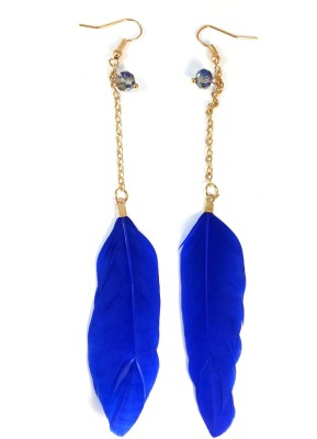 Ammvi Indigo Single Feather for Women Alloy Dangle Earring