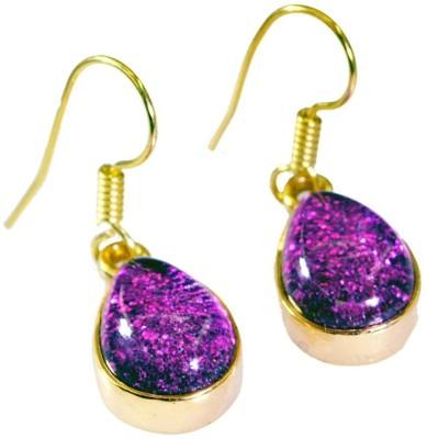 Riyo Comely Dichroic Glass Cubic Zirconia Copper Dangle Earring