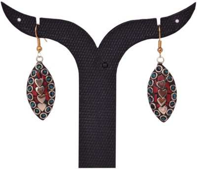 Tradition India TI546 Handmade Designer Stone Studded Traditional Lac Worked Brass Drop Earring