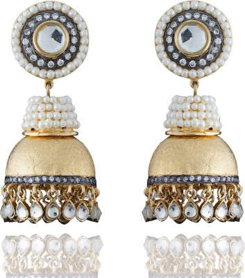 Chaahat Fashion Jewellery Gold Plated With Mother Of Pearl Cubic Zirconia Copper Jhumki Earring