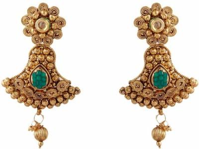 Jewlot Kundan Danglers and DropsGreen 1067 Brass Drop Earring
