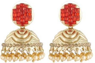 Art Nouveau Beautiful Design AD Stone Studded Traditional Partywear Brass Jhumki Earring