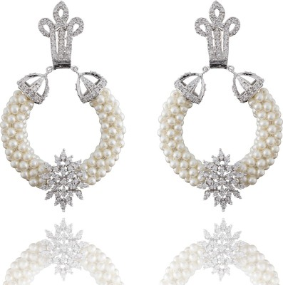 Chaahat Fashion Jewellery Pearl With Cz Stones Cubic Zirconia Copper Chandbali Earring
