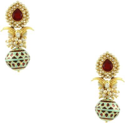 Orniza Meenakari Earrings in Turquoise Color and High Gold Polish Brass Dangle Earring